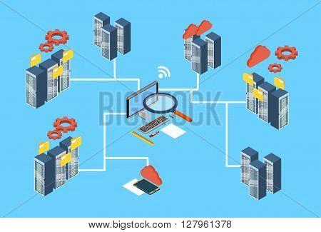 Database Server Search Data 3d Isometric Design Vector Illustration