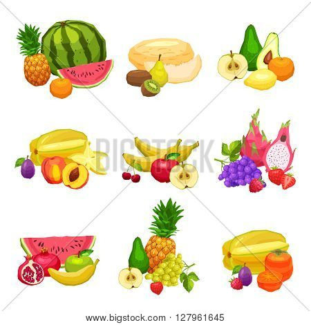 Collection Of Bright Flat Fresh Fruits, Still Life Illustrations Of Fruits, Healthy And Vegetarian Food Concept