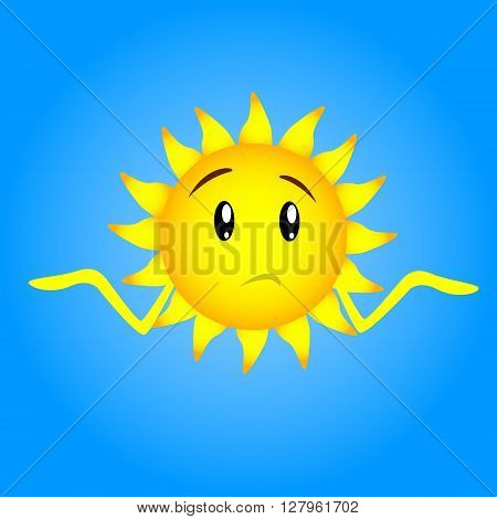 Sun Face Cartoon Character Sad Confused Unsure Expression Unexpected Hand Gesture No Idea Expression Shrug Shoulders Flat Vector Illustration