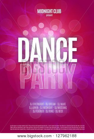 Dance Party Night Poster Background Template. Vector Illustration.