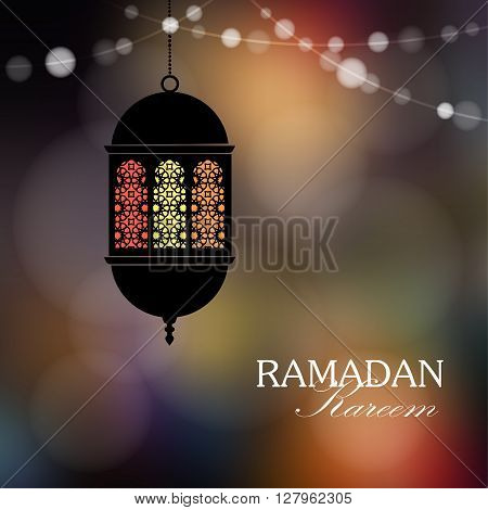 Decorative hanging arabic lantern. String of lights. Festive colorful blurred web background bokeh lights. Illumination.Greeting card invitation for muslim holy month Ramadan Kareem. - stock vector