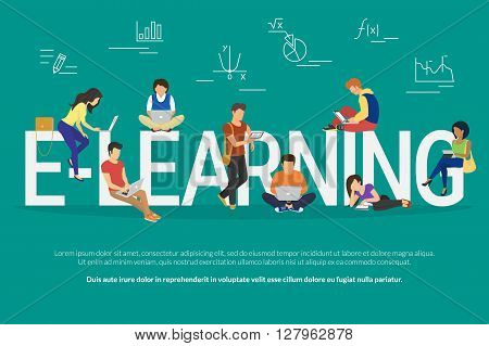 E-learning concept illustration of young various people using laptop, tablet pc and smartphone for distance studying and education. Flat design of guys and young women staying near big letters e-learning