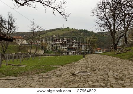 Etar,  Gabrovo, Bulgaria - April 13, 2012: Part of Etar village with guest house in old architectural style, Gabrovo town, Bulgaria. Visit of Gabrovo region in springtime.