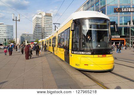 Electric Tram Train At Alexanderplatz In Berlin, Germany.