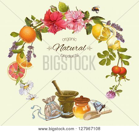 Vector vintage frame with honey,hibiscus,lemon and rose hip.Design for tea juice natural cosmetics, baking,candy and sweets,grocery,health care products. With place for text.