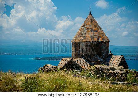 Photo of the Medieval church on Sevan lake Armenia