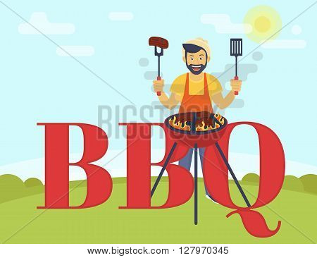 BBQ cooking party. Flat illustration of smiling guy is cooking steaks on the barbecue outdoors. Funny hipster wearing hat is cooking bbq and standing near bbq letters