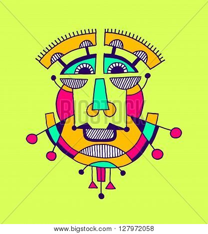 original avantgarde geometric composition of man person face, human head avatar vector illustration in cubism style
