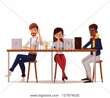 coworking, collaborative teamwork, vector cartoon comic illustration on a white background, isolated workers in office, Corporate Business Team Working Busy Concept, coworking center, Business meeting