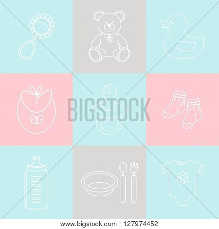 Baby icon set.White icons on colored background.Vector illustration