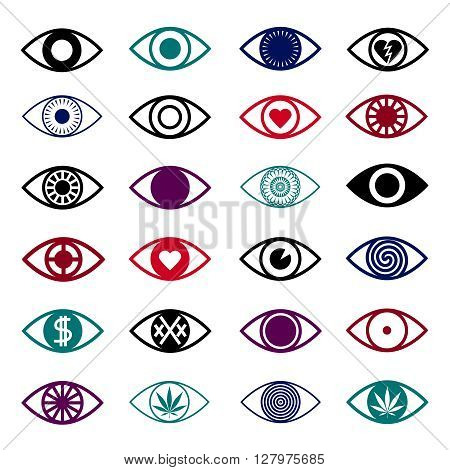 Different eye icons isolated on white background.