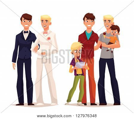 concept of gay love, cartoon art lovers to wedding of two man, the concept of a family of boy gay, men are a family with a small child happy loving homosexual couple