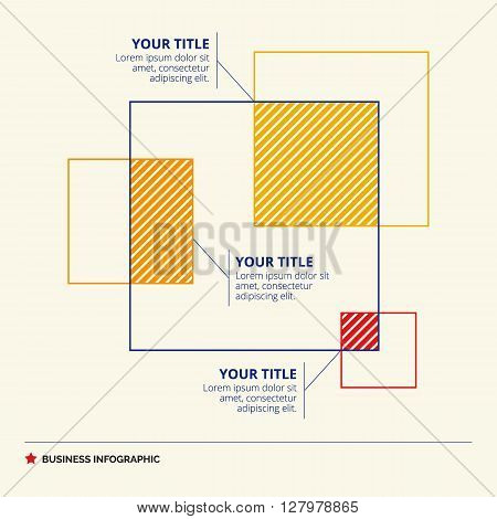 Venn diagram template representing squares with title and sample text, multicolored version