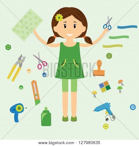 A girl is holding paper and scissors. Collection of art supplies and tools for crafting paper piecing and scrapbooking. Vector illustration