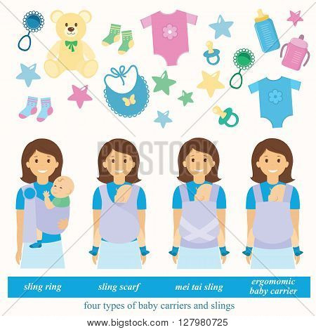 Four types of baby carriers and slings: sling ring ergonomic baby carrier mei tai baby carrier aling scarf.Baby supplies.Vector illustrations