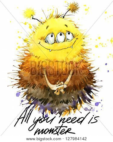 Cute monster watercolor illustration. Fluffy Monster. Cartoon cute monster. All you need is monster hand written text. Invitation card.