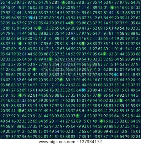 Template coding and programming theme. Green - cyan numbers rows. Vector tiled seamless loopable eps abstract illustration. numbers in rows