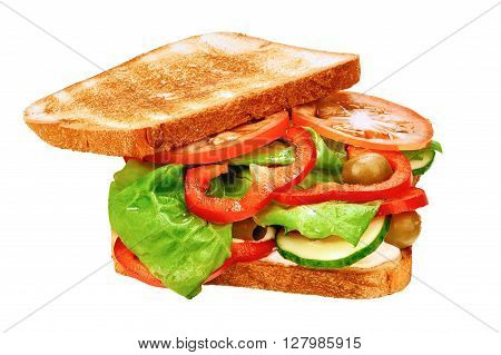 Vegetarian sandwich with fresh tomatoes cucumbers olives and lettuce on toasted white bread isolated on white background