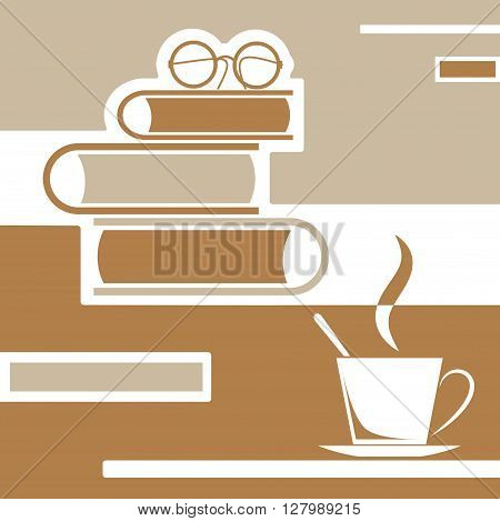 brown reading books with coffee and glasses