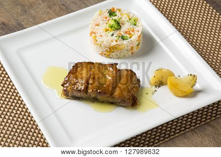 Codfish Grilled With Rice Colored