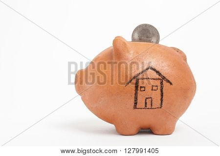 Saving dollars for a new house -  side view