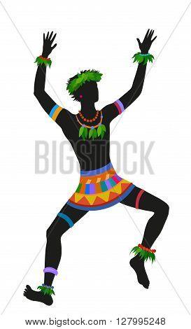 Hawaiian dance ritual dance in the bright national costume