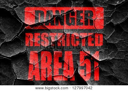 Grunge cracked area 51 sign