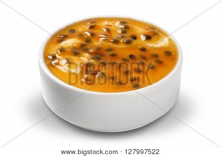Tasty and delicious passion fruit mousse. White background.