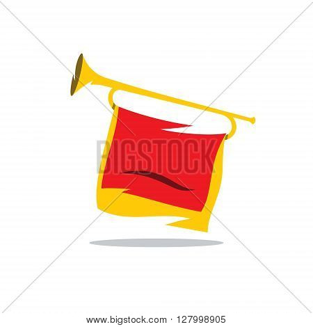 Bugle Pioneer of Soviet youth organization Isolated on a White Background