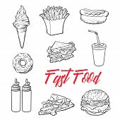 set fast food meal, vector sketch hand-drawn elements of fast food, ice cream burger, sandwich, soda lemonade, ponchos, pizza hot dog french fries, sauces, ketchup and mustard, fast food ready icons poster