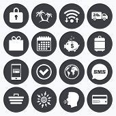Wifi, calendar and mobile payments. Online shopping, e-commerce and business icons. Credit card, gift box and protection signs. Piggy bank, delivery and tick symbols. Sms speech bubble, go to web symbols. poster