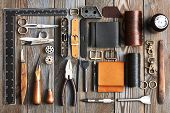 Leather crafting DIY tools flat lay still life  poster