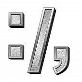 Colon, semicolon, period, comma from brushed stainless steel alphabet set, isolated on white. 3D illustration. poster