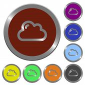 Set of color glossy coin-like cloud buttons. poster