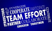 Team Effort Cooperate Collaborate Work Together Word Collage poster