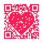 QR code pixels make a pink heart poster