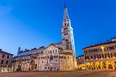 Evening view on Duomo di Modena with Ghirlandina tower located on Piazza Grande Modena Emilia-Romagna Italy poster