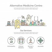 Modern linear style. Holistic center, naturopathic medicine, homeopathy, acupuncture, ayurveda, chinese medicine, womans health. For web site, print design, business card. poster