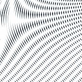 Moire pattern monochrome background with trance effect. Optical illusion creative black and white graphic vector backdrop. poster