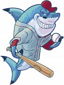 Vector cartoon clip art illustration of a tough mean smiling shark mascot wearing a baseball shirt and hat while holding a bat and ball. Accessories are on a separate layer in the vector file. poster