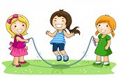 Children playing jumping rope in the Park - Vector poster