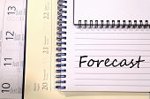 Forecast text concept write on notebook . poster