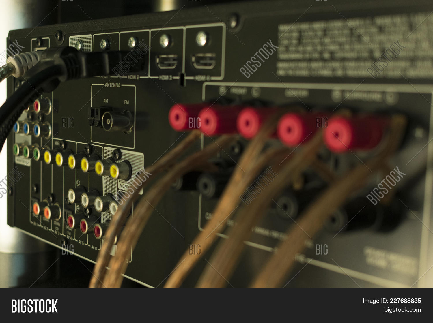 Back Audio Receiver Image Photo Free Trial Bigstock Wiring Home Equipment Of Video For Theater With Inputs Connecting And Output To