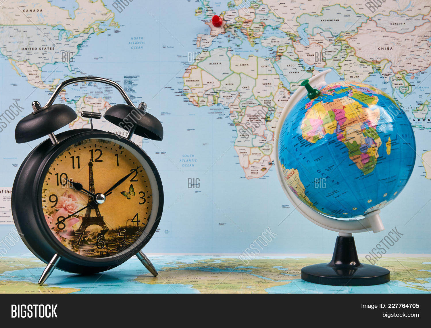 Planing travel france image photo free trial bigstock planing for travel to france paris with worldmap globe and alarm clock travel time in gumiabroncs Choice Image