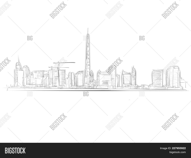 Line Art Hand : Dubai skyline landmark sketch vector photo bigstock