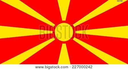 Flag of Macedonia. Symbol of Independence Day, souvenir sport game, button language, icon.