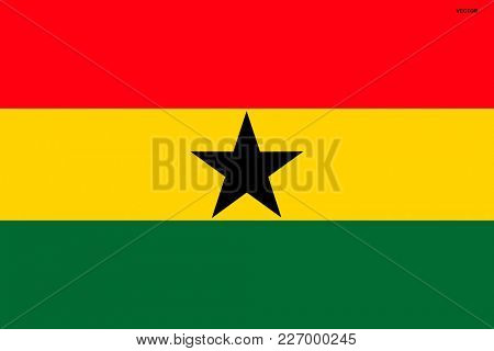 Flag of Ghana. Symbol of Independence Day, souvenir sport game, button language, icon.