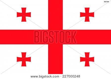 Flag of Georgia. Symbol of Independence Day, souvenir sport game, button language, icon.
