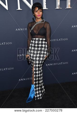 LOS ANGELES - FEB 13:  Janelle Monae arrives for the 'Annihilation' Los Angeles Premiere on February 13, 2018 in Westwood, CA