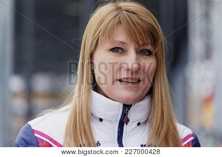 ST. PETERSBURG, RUSSIA - FEBRUARY 3, 2018: Former World and Olympic champion in skating Svetlana Zhurova during the Open All-Russian Mass Skating Competitions Ice Of Our Hope